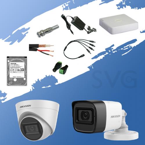 ГОТОВКОМПЛЕКТ ЗА ВИДЕОНАБЛЮДЕНИЕ - 2 мегапиксела FullHD 1080p, с 1инфрачервенакуполнаи 1инфрачервена корпуснакамераза външен и вътрешен монтаж с вградени микрофони /Audio Over Coaxial/