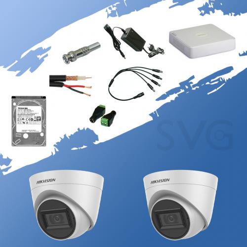 ГОТОВ КОМПЛЕКТ ЗА ВИДЕОНАБЛЮДЕНИЕ - 2 мегапиксела FullHD 1080p, с 2 инфрачервени куполникамери за външен и вътрешен монтаж с вградени микрофони /Audio Over Coaxial/