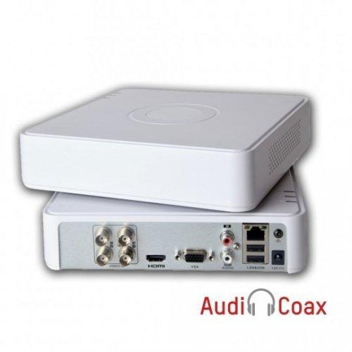 HIKVISION DS-7104HQHI-K1. Поддържа 4 HD-TVI/AHD/CVI камери до 2 MPX, H.265 Pro+/H.265 Pro/H.265 компресия