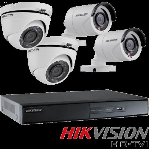 ГОТОВ КОМПЛЕКТ ЗА ВИДЕОНАБЛЮДЕНИЕ HD 720P - с 4 канален видеорекордер, 2 куполни и 2 корпусни камери
