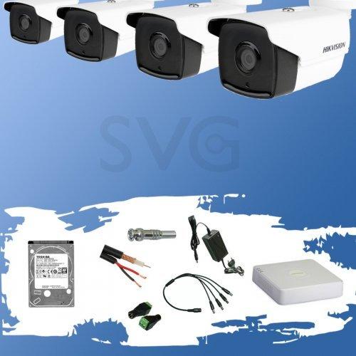 Комплект за видеонаблюдение HIKVISION HD-TVI 2 мегапиксела - 4 камери с EXIR инфрачервено осветление до 80 метра