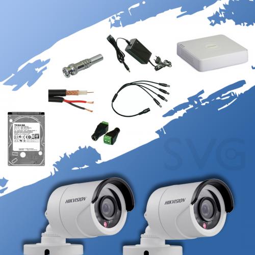 ГОТОВ КОМПЛЕКТ ЗА ВИДЕОНАБЛЮДЕНИЕ HD 720P - с 4 канален видеорекордер и 2 корпусни камери
