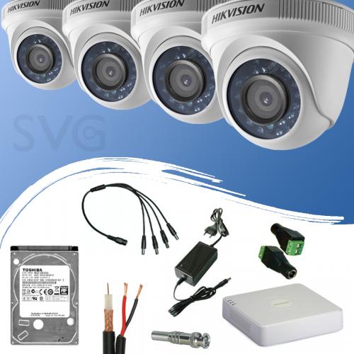 ГОТОВ КОМПЛЕКТ ЗА ВИДЕОНАБЛЮДЕНИЕ HD 720P/ 1280x720 px, обектив 3.6 mm - с 4 канален видеорекордер + 4 куполни камери