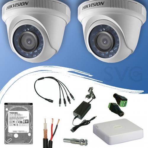 ГОТОВ КОМПЛЕКТ ЗА ВИДЕОНАБЛЮДЕНИЕ HD 720P/ 1280x720 px, обектив 3.6 mm - с 4 канален видеорекордер + 2 куполни камери