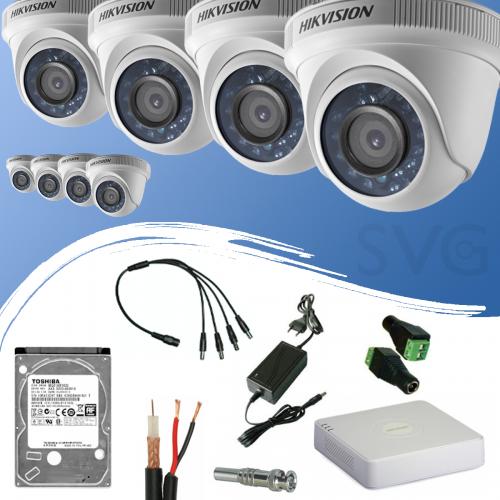 ГОТОВ КОМПЛЕКТ ЗА ВИДЕОНАБЛЮДЕНИЕ HD 720P/ 1280x720 px, обектив 3.6 mm - с 8 канален видеорекордер + 8 куполни камери