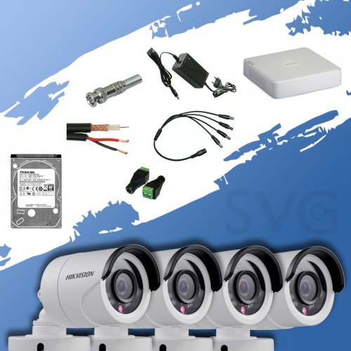 ГОТОВ КОМПЛЕКТ ЗА ВИДЕОНАБЛЮДЕНИЕ HD 720P - с 4 канален видеорекордер и 4 корпусни камери
