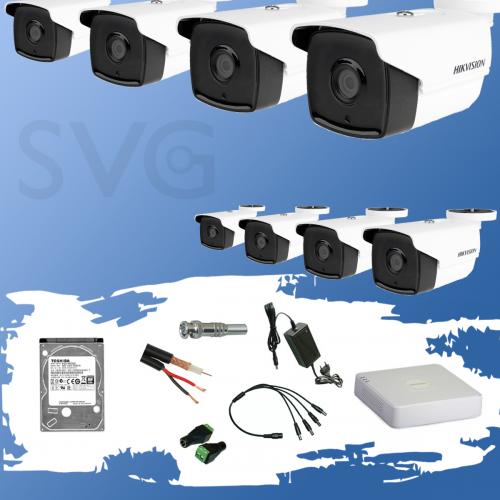 ГОТОВ КОМПЛЕКТ ЗА ВИДЕОНАБЛЮДЕНИЕ HIKVISION HD-TVI 2 мегапиксела - 8 камери с EXIR инфрачервено осветление до 80 метра