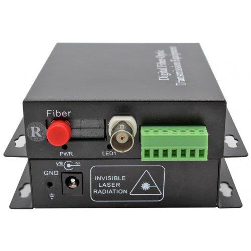 Комплект приемник и предавател за пренос на 1 видеосигнал по оптичен кабел singlemode до 20 км;HD-AHD-1V1D-T/RF