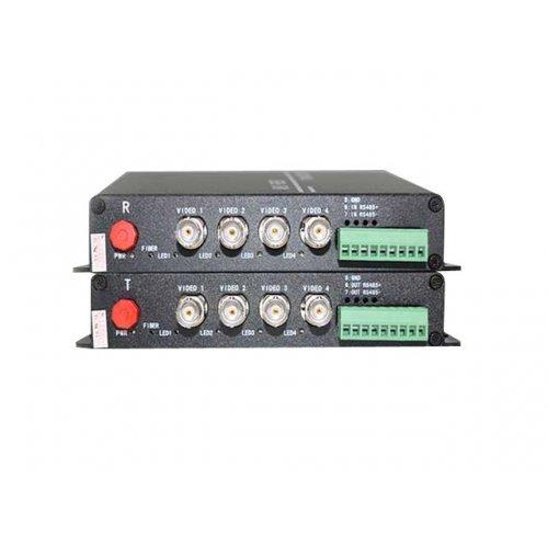Комплект приемник и предавател за пренос на 4 видеосигнала по оптичен кабел singlemode до 20 км;HD-AHD-4V1D-T/RF